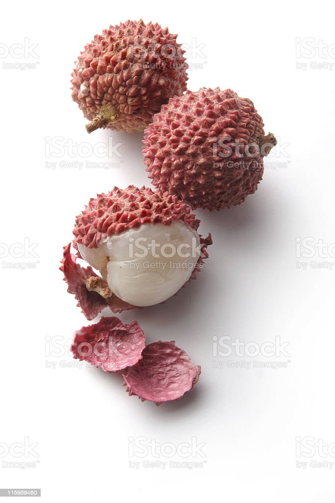Fruit: Lychees Isolated on White Background stock photo