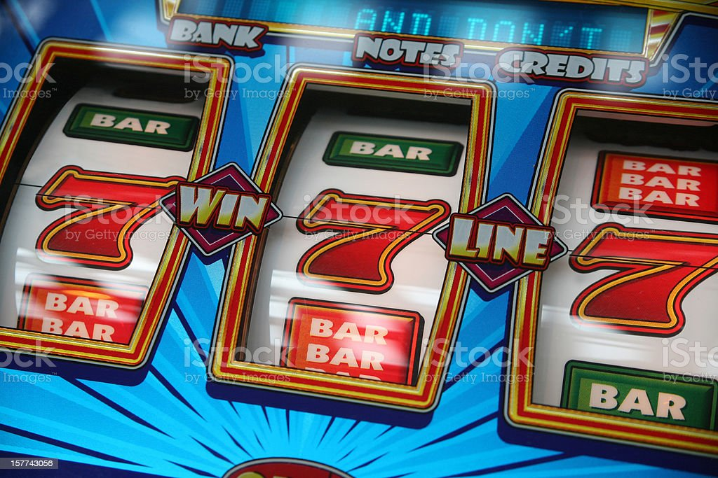 Fruit Machine Win stock photo
