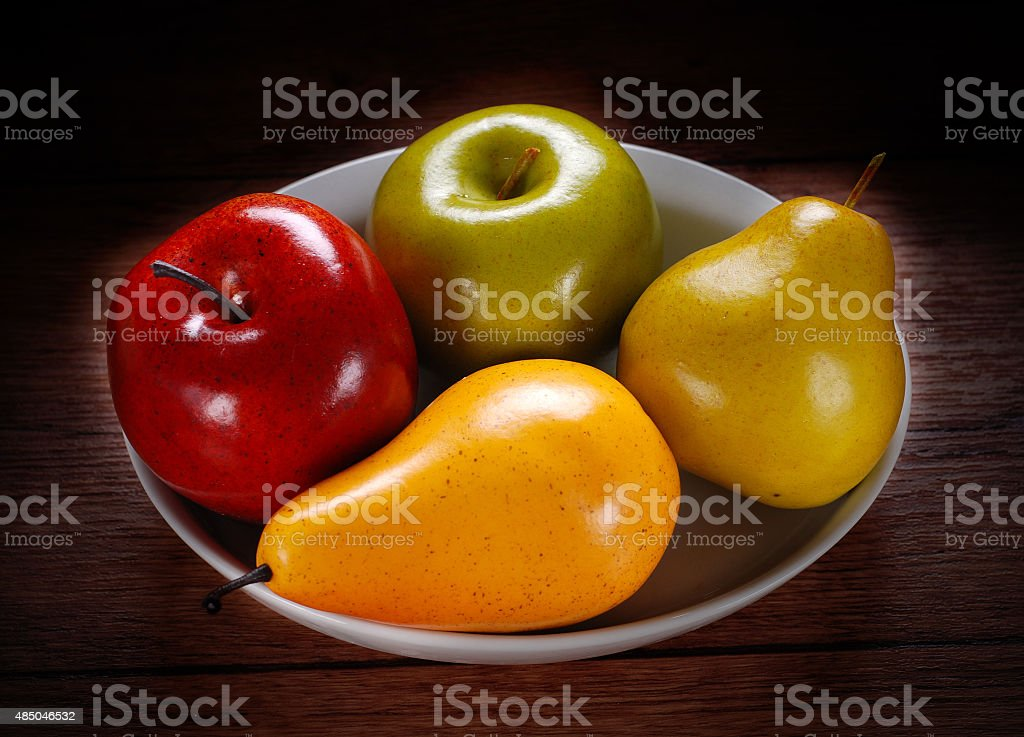 fruit made €‹of wax stock photo