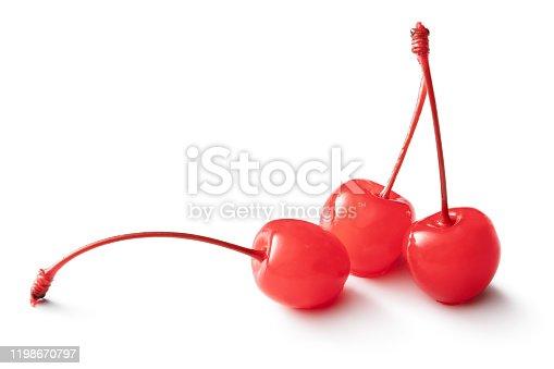 Fruit: Maraschino Cherries Isolated on White Background