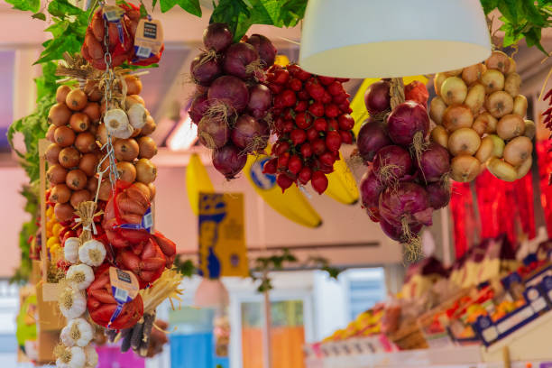 Fruit market in Mercato Testaccio Rome, Italy - December 20, 2018: Fruit market in Mercato Testaccio mercato stock pictures, royalty-free photos & images