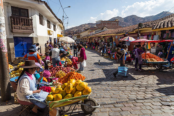 fruit market in the steets of cusco, peru - south america travel stock photos and pictures