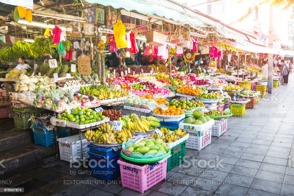 Fruit market on the street in Bangkok, Thailand. stock photo