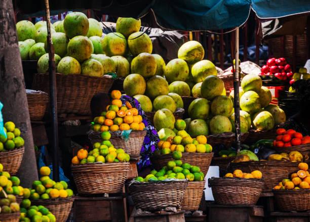 Fruit Market scene - Lagos, Nigeria stock photo