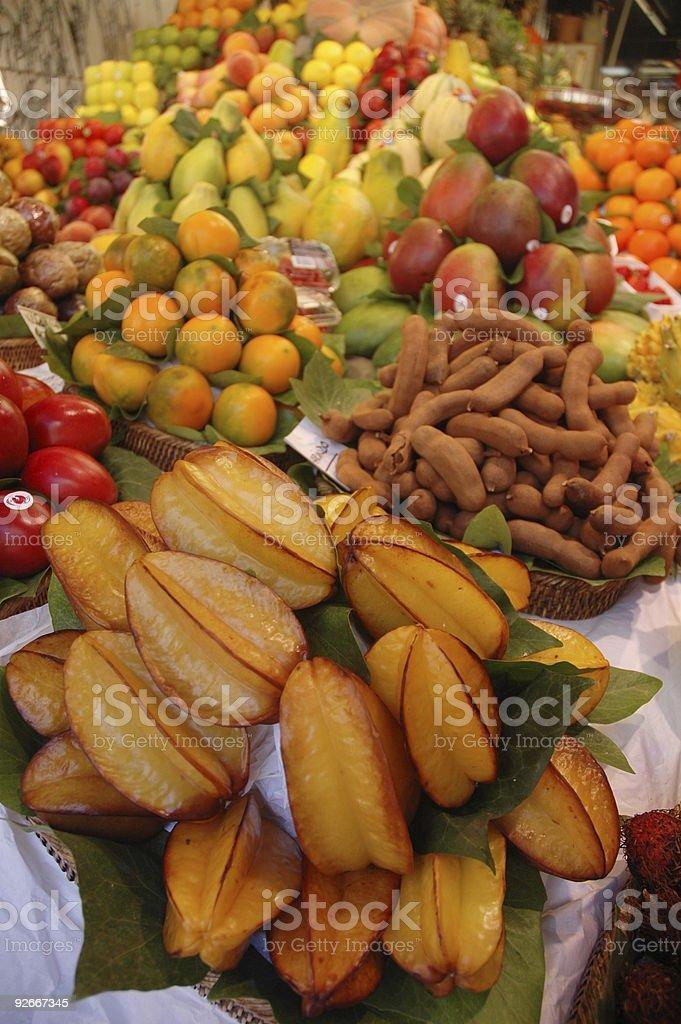 Fruit market with exotic fruits stock photo