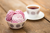 fruit marshmallows and the cup of tea