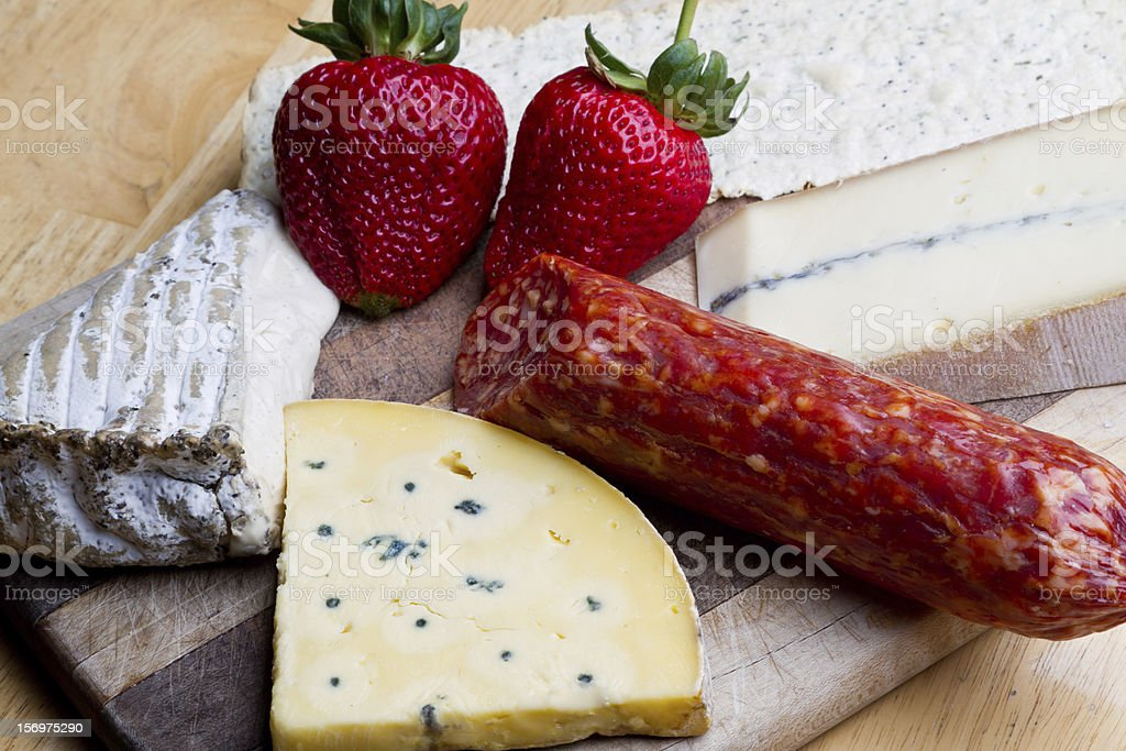 Fruit, Meat and Cheese Platter royalty-free stock photo