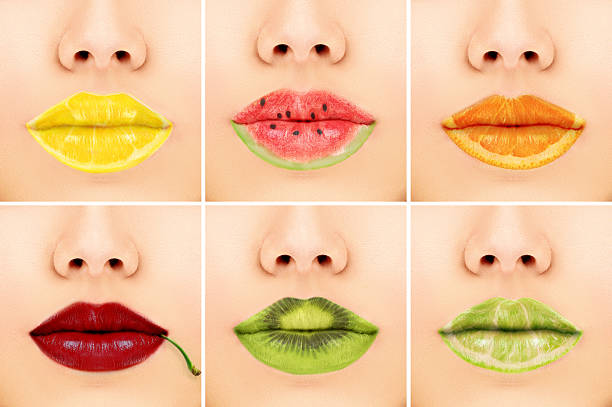 Fruit mix lips stock photo