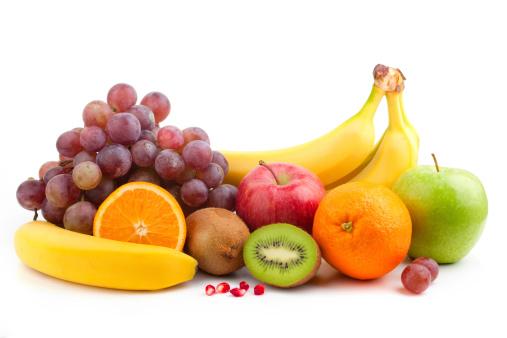 Fruit mix over white background