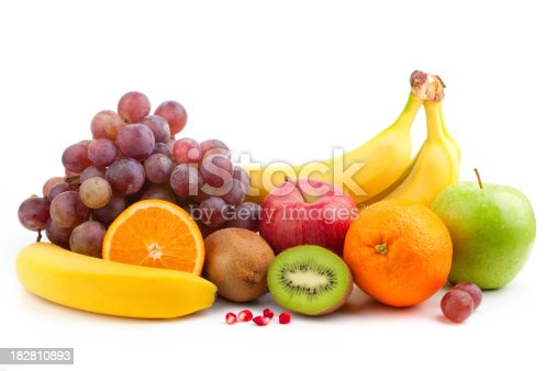 Fruit mix over white background