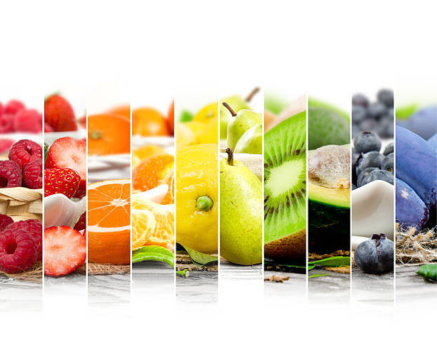 fruit mix stripes - fruit stock photos and pictures