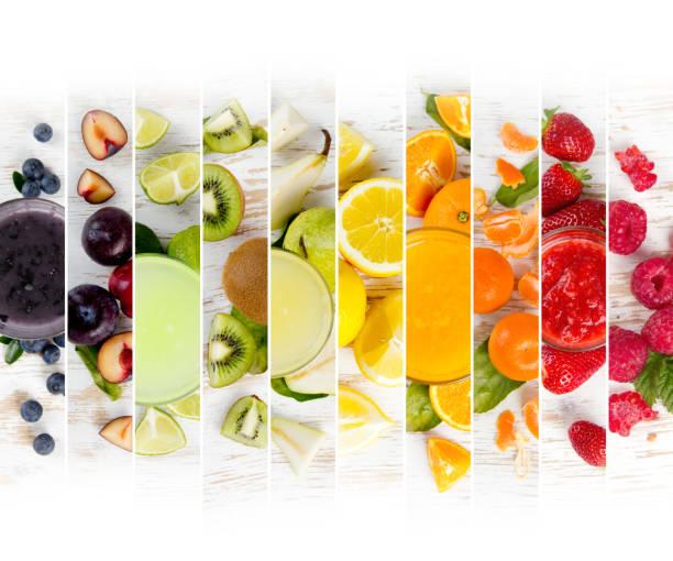 früchte mix streifen - zitronenspeise stock-fotos und bilder