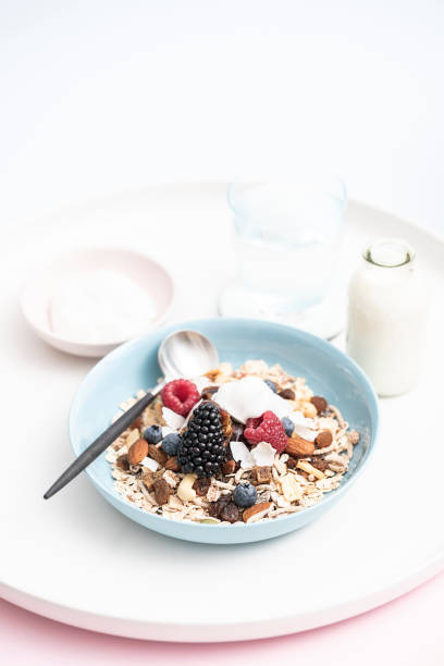 fruit & nut natural muesli/granola - anthony mcgovern stock photos and pictures