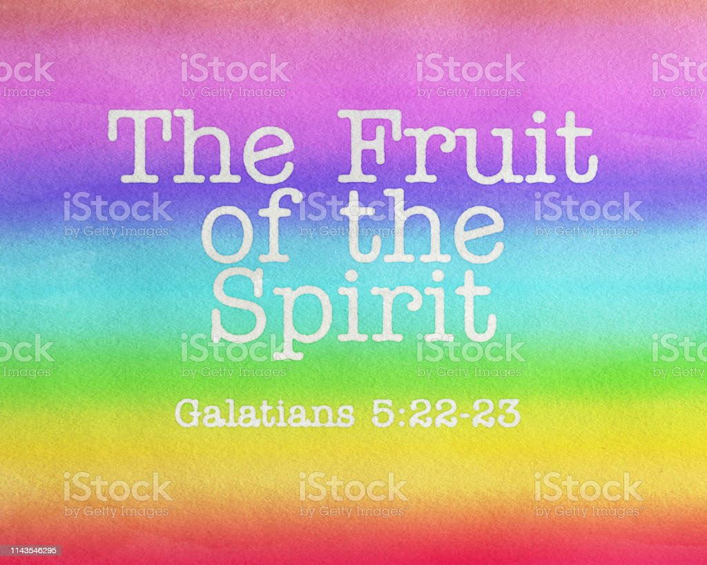 Fruit of the Spirit Text, watercolor painted Fruit of the Spirit stock photo