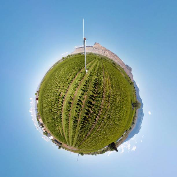 Fruit Orchard Windmill, Palisade, Colorado, Tiny Planet stock photo