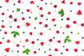 istock Fruit pattern on white background. Flat lay, top view 803334212