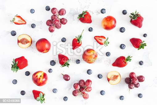 istock Fruit pattern on white background. Flat lay, top view 924349066