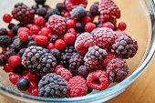 frozen wild berries in a bowl