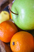 apple and mandarine closeup