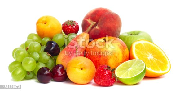 Fruit pile isolated on white background