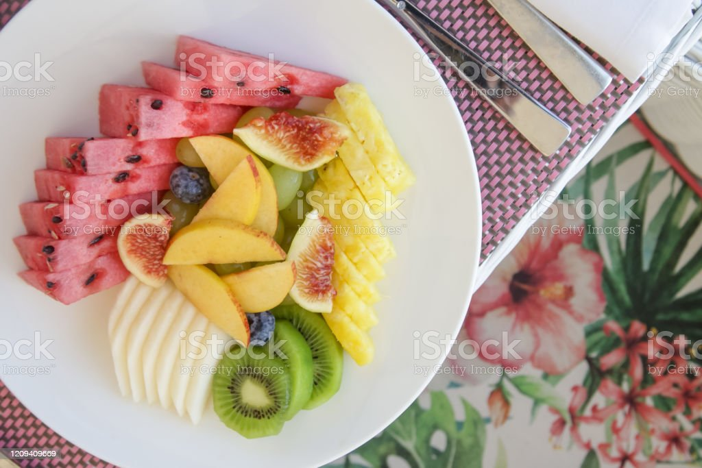 Fruit Platter And Cereals For Breakfast Healthy Raw Organic Breakfast Option Stock Photo Download Image Now Istock