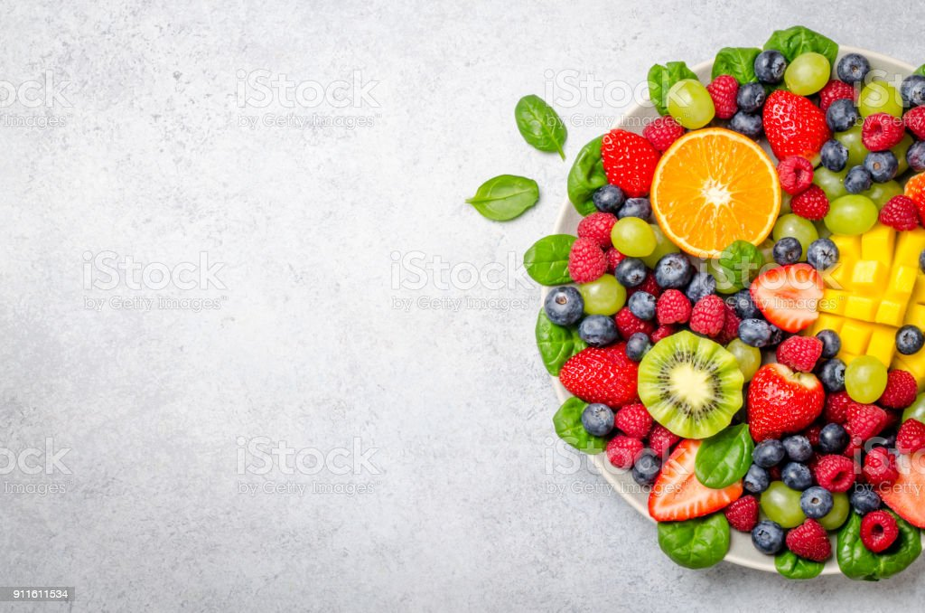 Fruit platter, top view stock photo