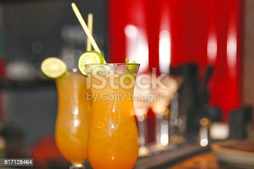 Close up ice lemon tea with lemon grass inside the drink.