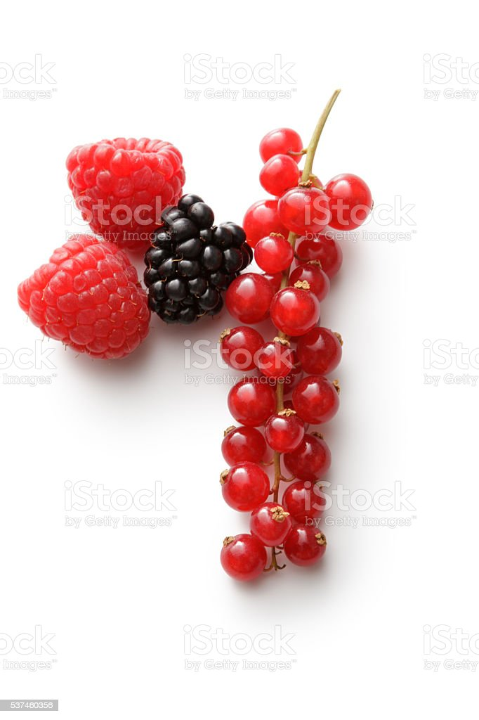 Fruit: Raspberry, Blackberry and Red Currant Isolated on White Background stock photo