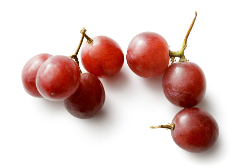 Fruit: Red Grapes Isolated on White Background