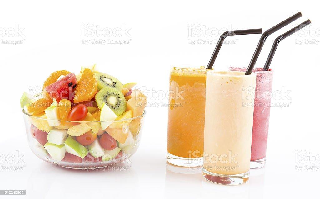 fruit salad and  fruit juice, stock photo