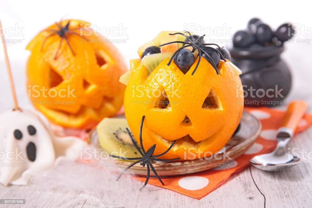 fruit salad for halloween stock photo