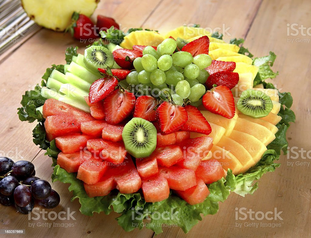 Fruit salad tray stock photo