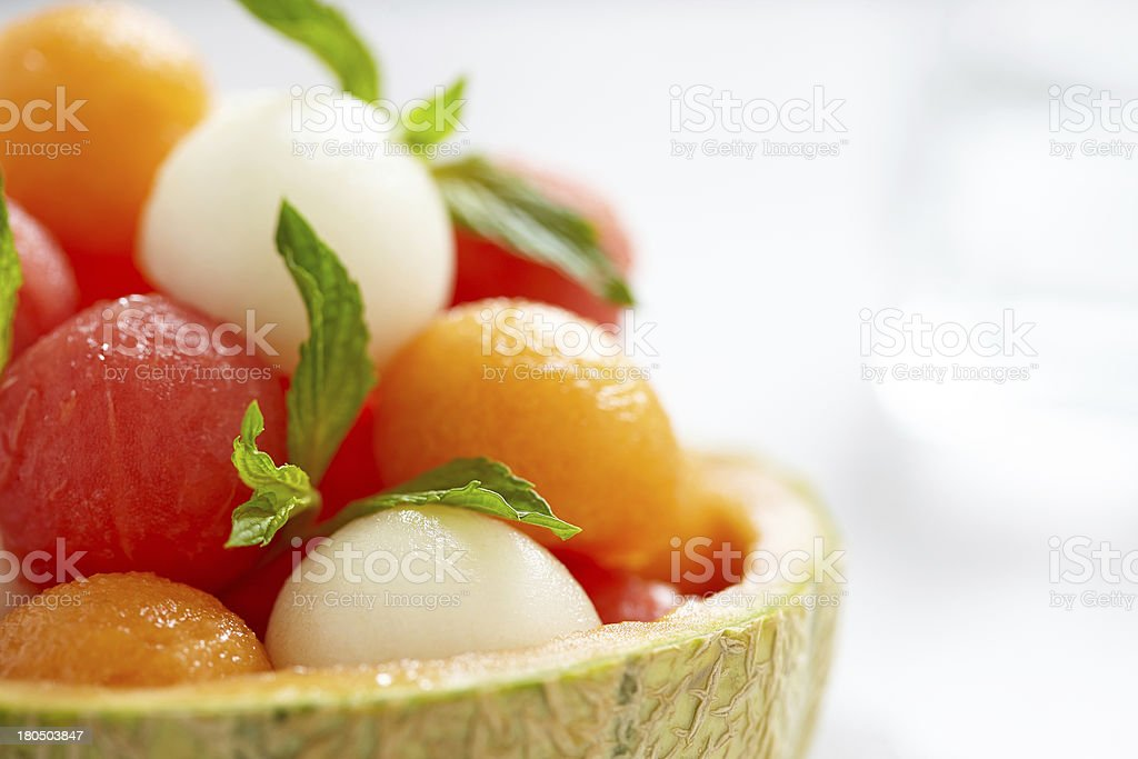 Fruit salad with watermelon and melon balls royalty-free stock photo