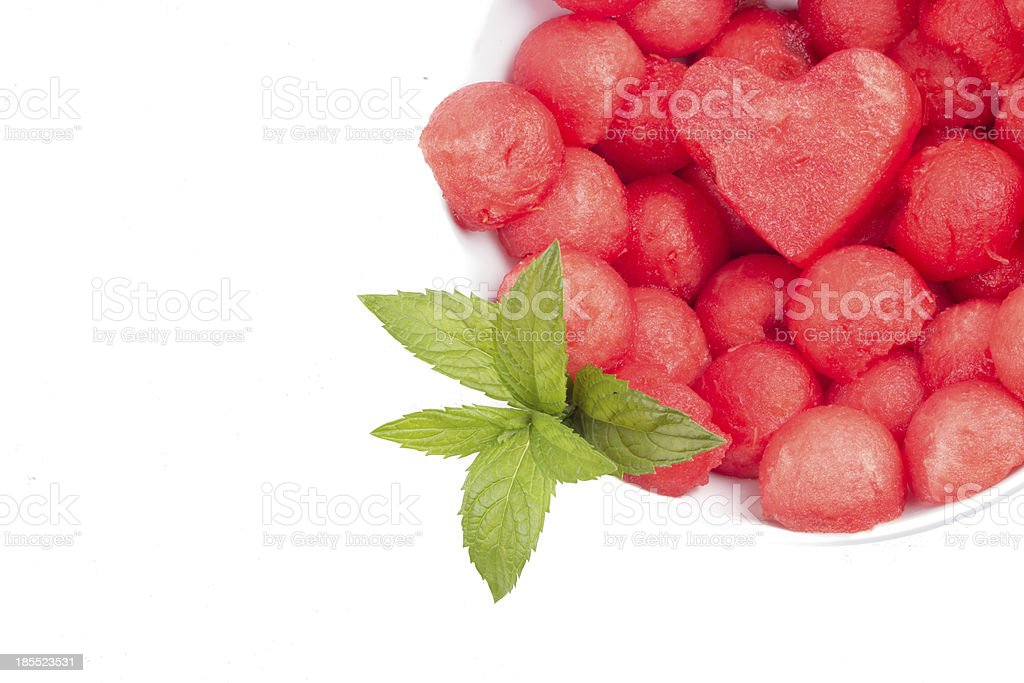 Fruit salad with watermelon and mint royalty-free stock photo