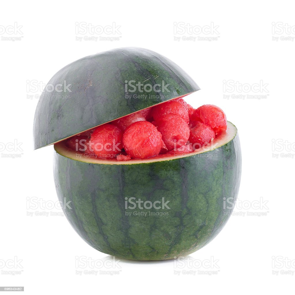 Fruit salad with watermelon balls royalty-free stock photo