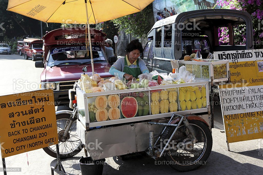 Fruit seller in Chiang Mai, Thailand stock photo