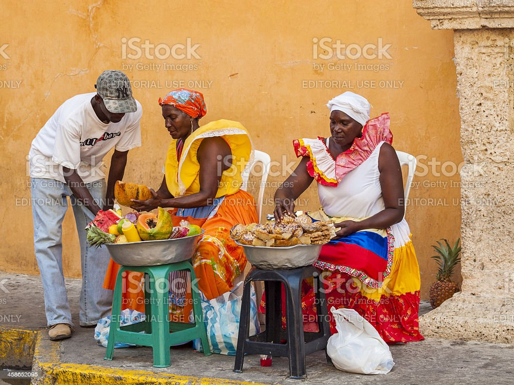 Fruit sellers, Cartagena, Colombia royalty-free stock photo