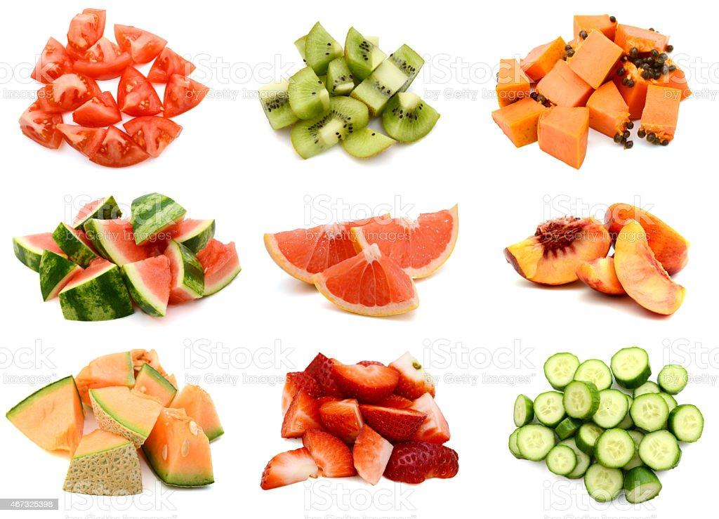 fruit slices collage stock photo