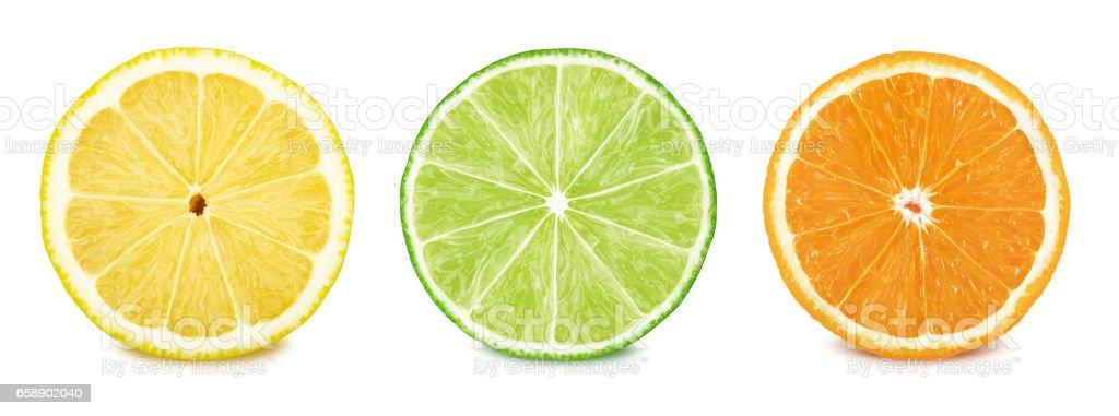 Fruit slices set: lemon, lime, orange. stock photo