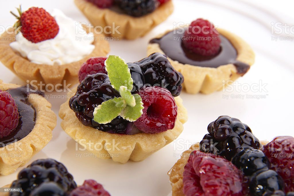 Fruit petite cakes stock photo
