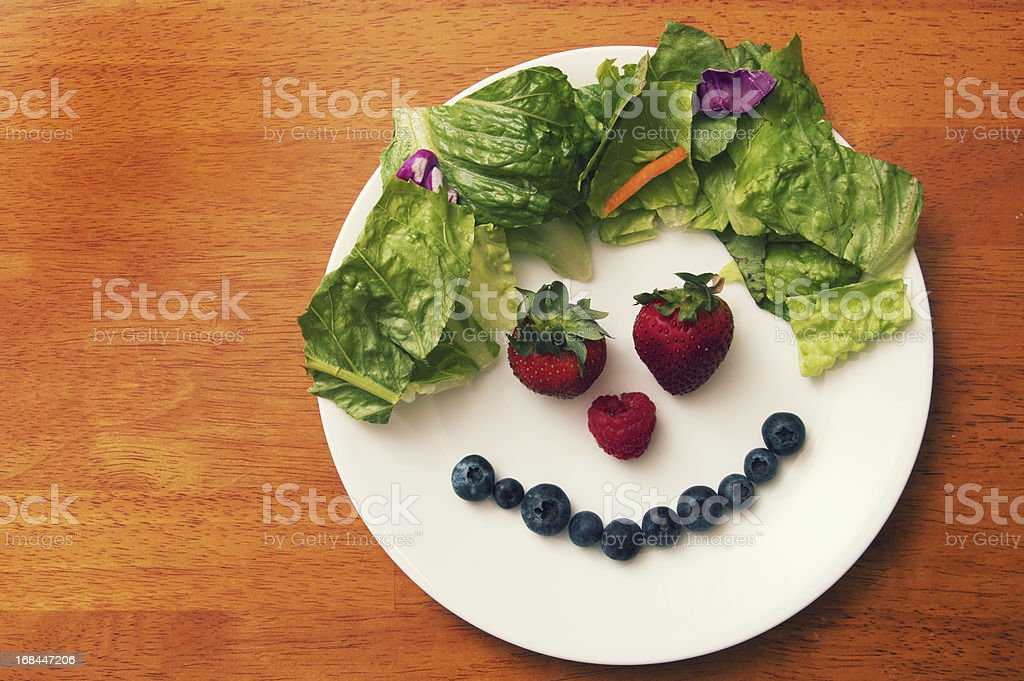 Fruit Smiling Face Plate stock photo