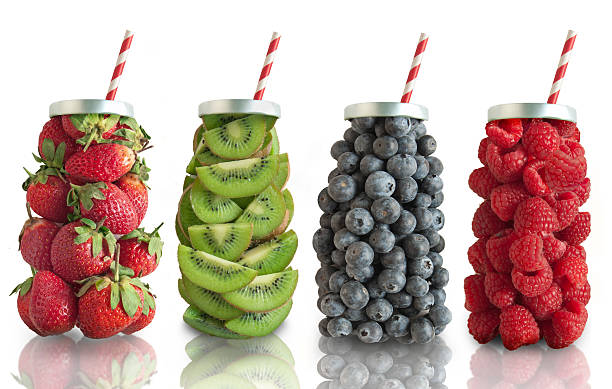 fruit smoothie flavours concept - einmachglassmoothie stock-fotos und bilder