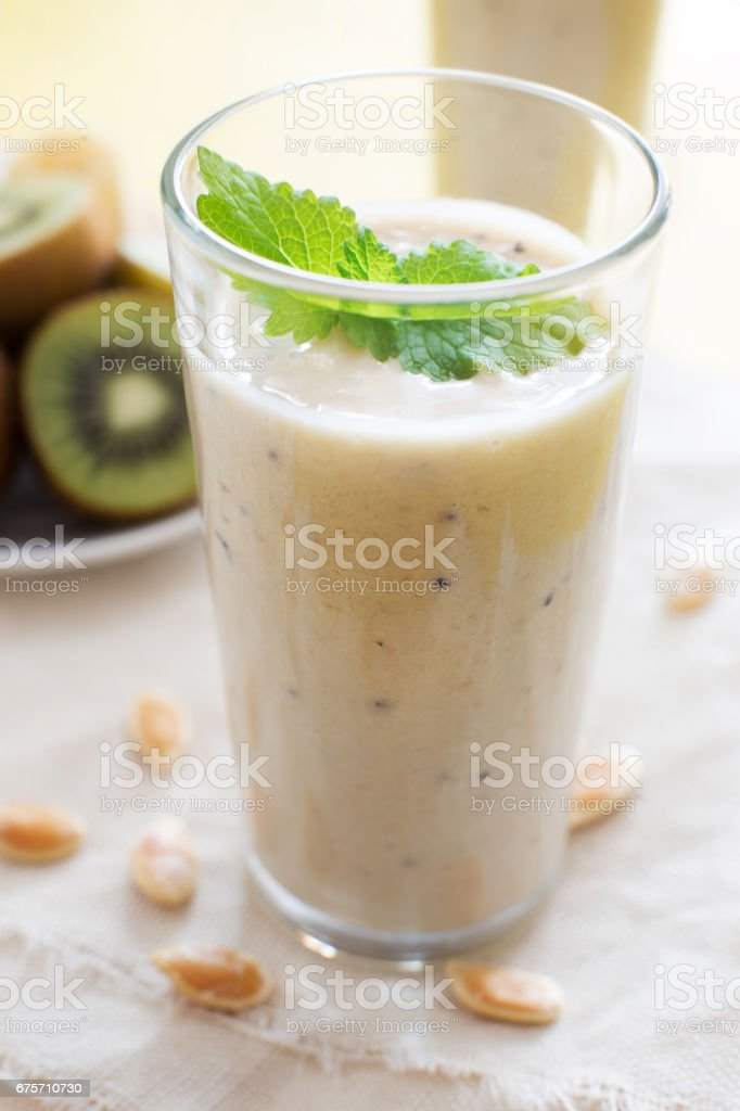 Fruit smoothie with mint and kiwi royalty-free stock photo