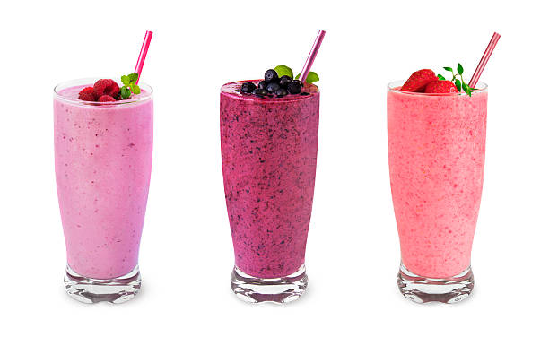 fruit smoothies - milkshake stockfoto's en -beelden