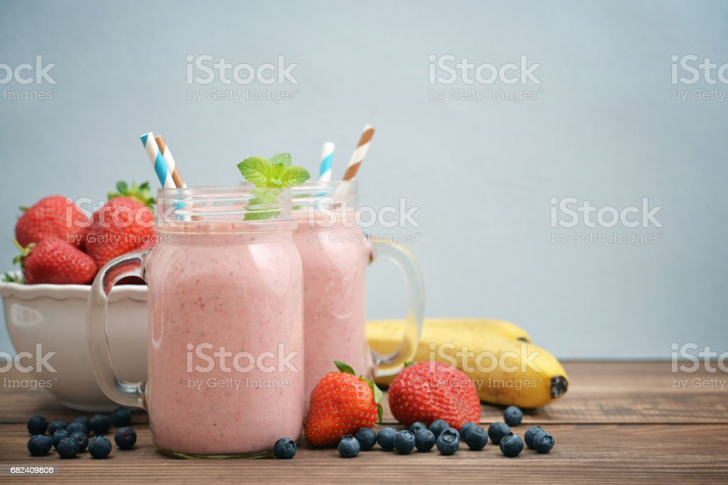 Fruit smoothies with strawberry royalty-free stock photo