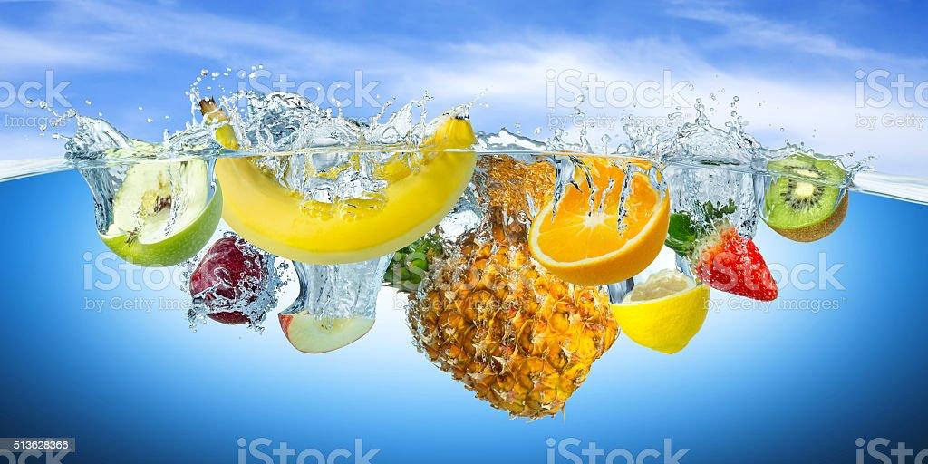 fruit splash stock photo