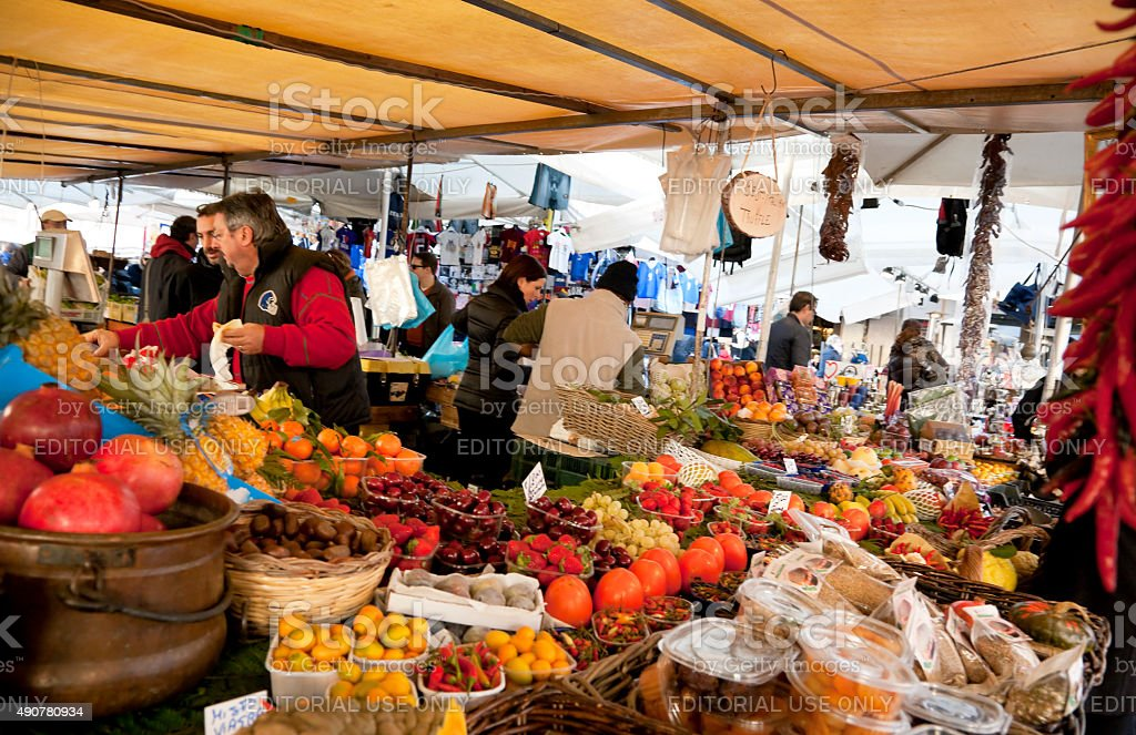 Fruit stall at Campo dei Fiori stock photo