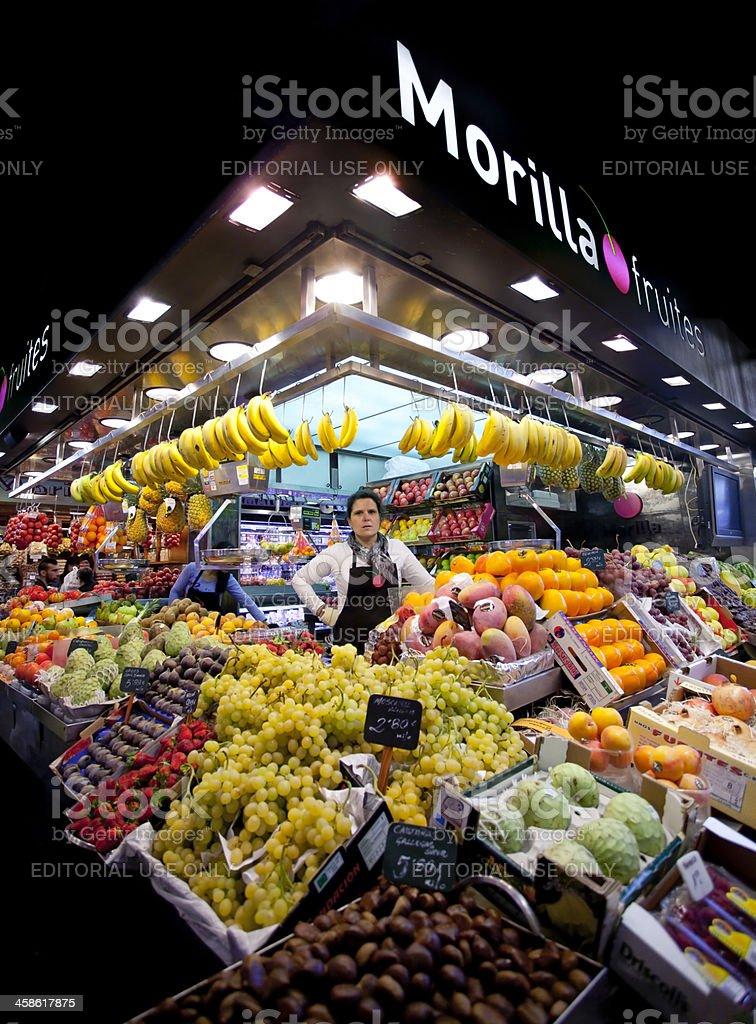 Fruit stall at the Boqueria Market royalty-free stock photo