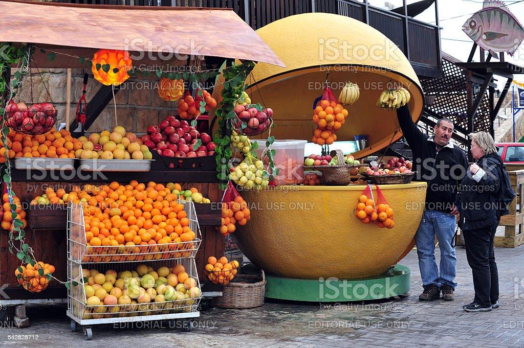 Fruit Stall in Acre Akko Israel stock photo