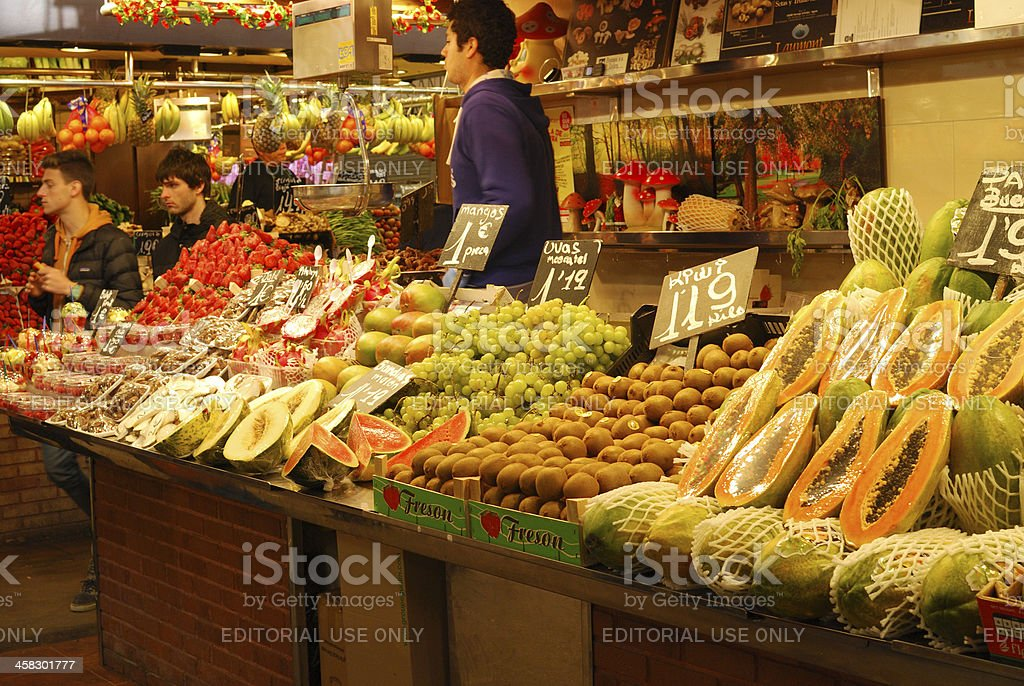 Fruit stall in covered market. Barcelona. Spain. royalty-free stock photo